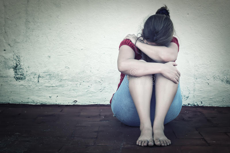 Унылый плакать женщины стоковое фото rf