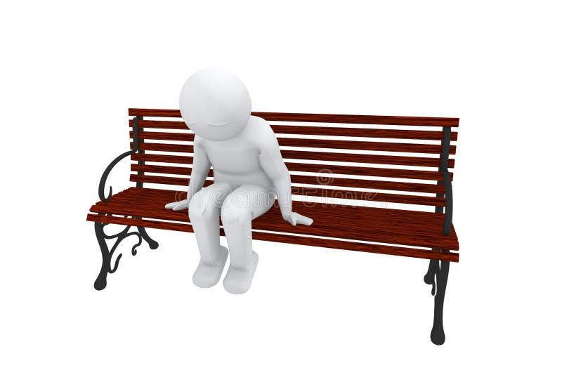 унылый человек 3d сидит на стенде иллюстрация штока