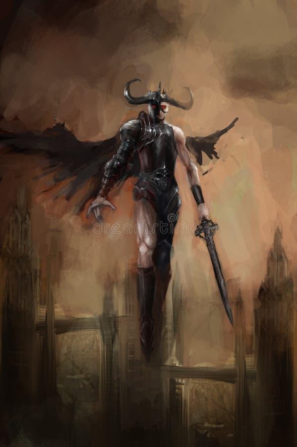 Упаденный ангел иллюстрация вектора