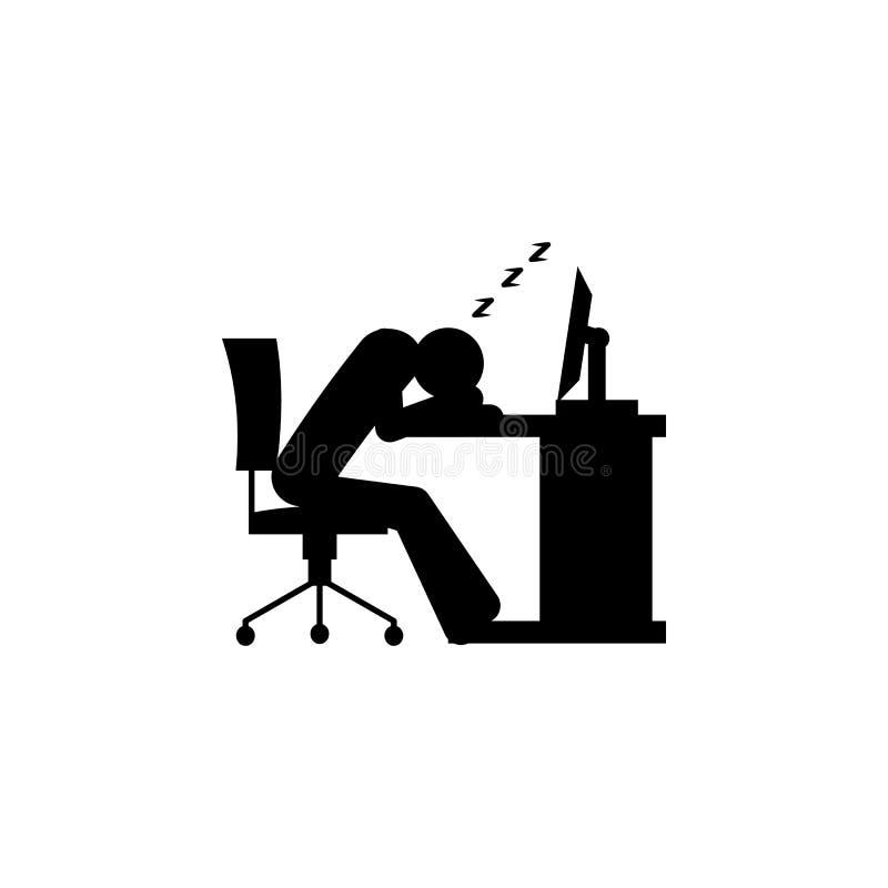 упадите уснувший на значке стола Элемент людей на значке работы для передвижных apps концепции и сети Детальный упадите уснувший  бесплатная иллюстрация