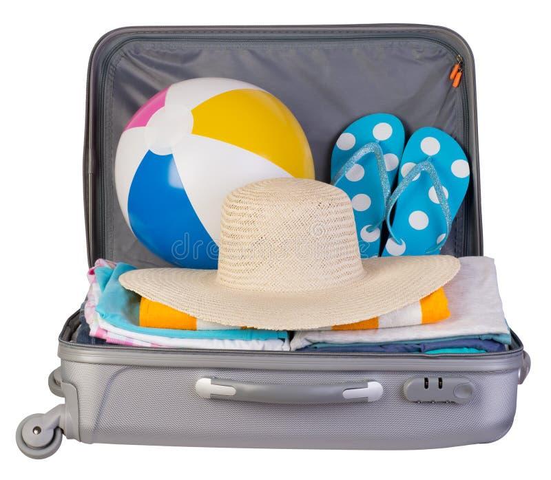 Упакованный чемодан вполне деталей каникул стоковые фотографии rf