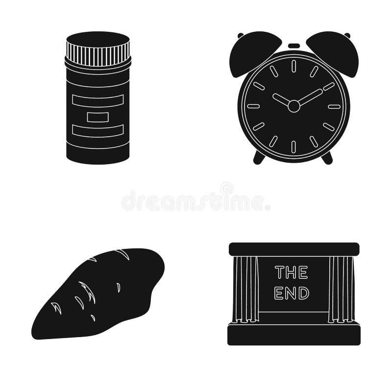 Упаковка, будильник и другой значок сети в черном стиле куриная грудка, значки киноэкрана в собрании комплекта иллюстрация вектора