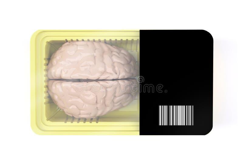 Упаковка еды с органом человеческого мозга внутрь бесплатная иллюстрация