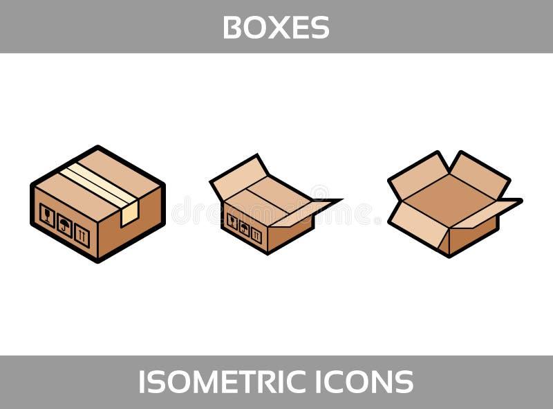 Упаковка простого ofкомплекта равновеликая кладет значки в коробку Flatвектора Покрасьте плоские равновеликие значки с толсты бесплатная иллюстрация