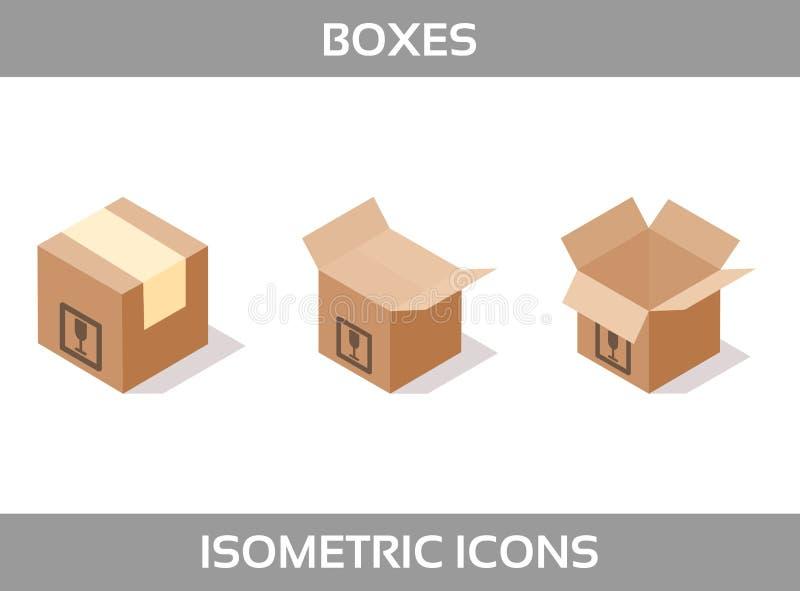 Упаковка простого ofкомплекта равновеликая кладет значки в коробку вектора3DЗначки цвета равновеликие без ходов 3d кладет из иллюстрация вектора