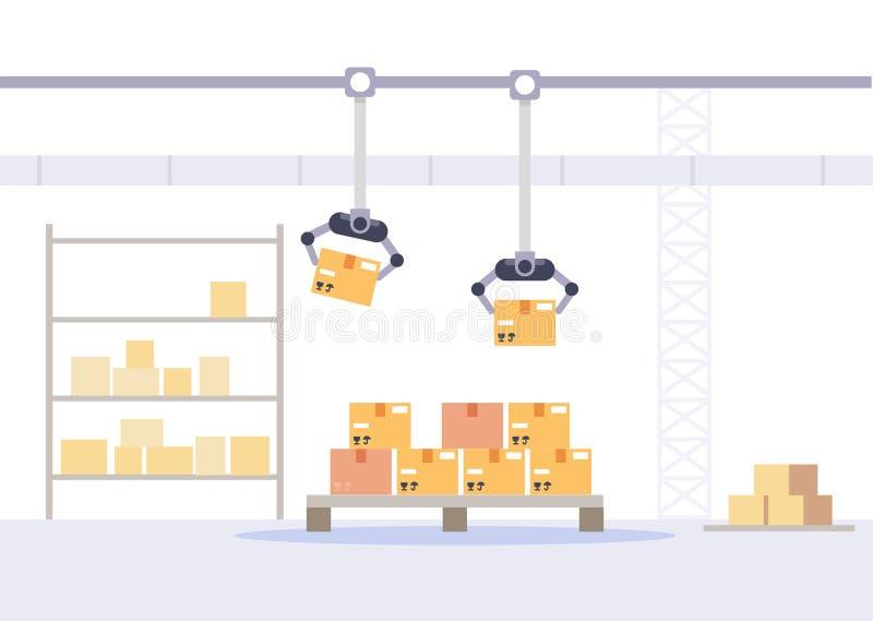 Упаковка фабрики и концепция магазина Склад с иллюстрацией вектора коробок плоской иллюстрация вектора