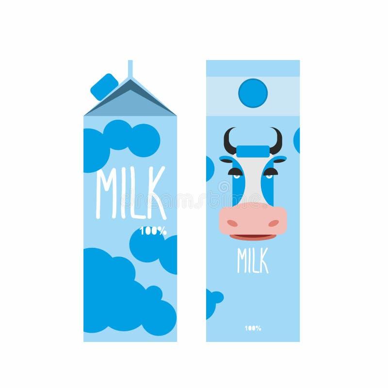 упаковывать молока Пакет дизайна шаблона с голубым молоком коровы V иллюстрация вектора