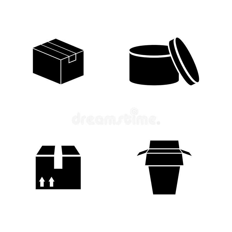 упаковывать Простые родственные значки вектора иллюстрация штока