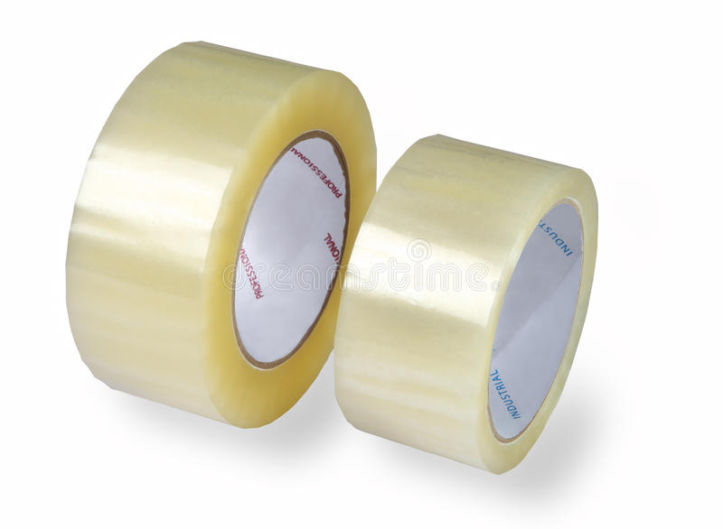 Упаковывая ленты, 2 крена прозрачной ленты, изолированное изображение o стоковые фотографии rf
