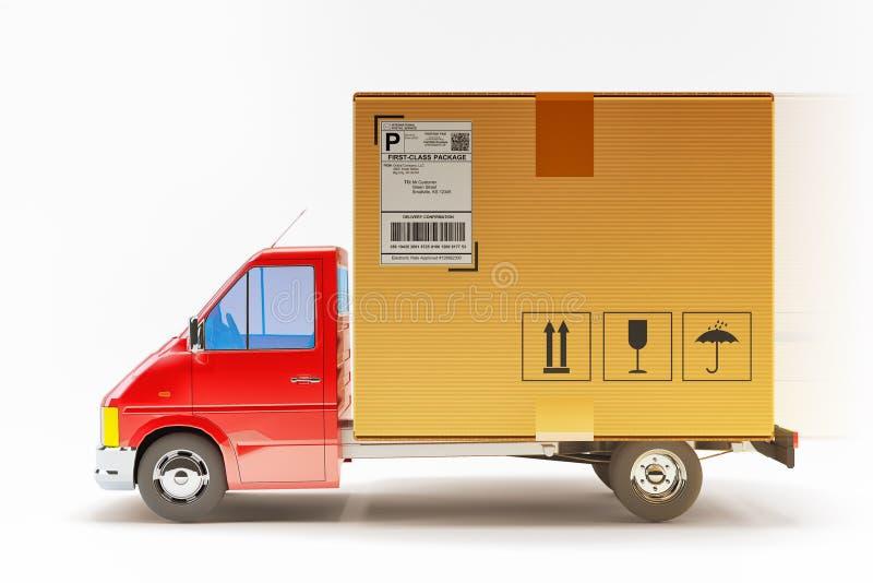 Упакуйте обслуживание срочной поставки, транспорт перевозки и концепцию грузовых перевозок иллюстрация штока