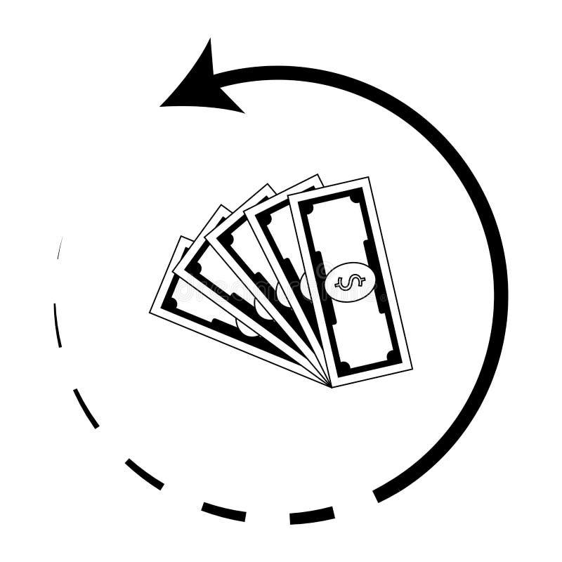 Уплотнение вектора денег заднее Символ Cashback иллюстрация штока