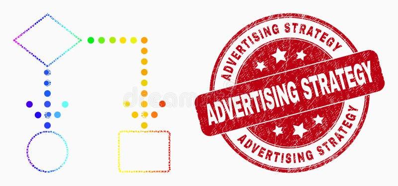Уплотнение печати значка блок-схемы точки спектра вектора и стратегии рекламы дистресса иллюстрация вектора