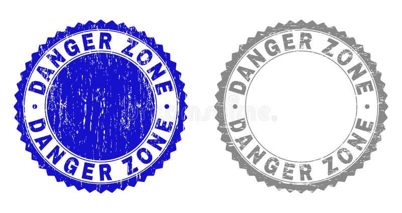 Уплотнения печати Grunge текстурированные ОПАСНОЙ ЗОНОЙ иллюстрация вектора