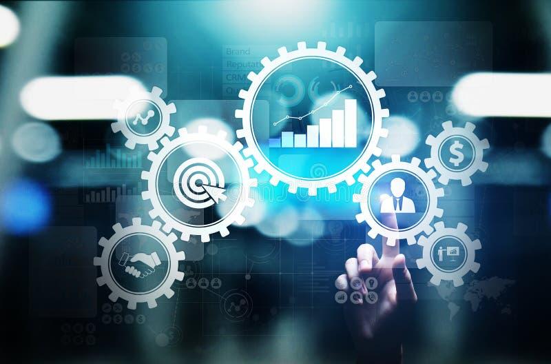 Управление бизнес-процесса, поток операций автоматизации, утверждение документа, соединило cogs шестерни с концепцией технологии  бесплатная иллюстрация