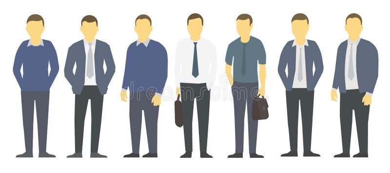 Управление больших бизнесменов набора Положение бизнесменов Руководство партнерства работы Мужской дресс-код Люди в одеждах дела иллюстрация штока
