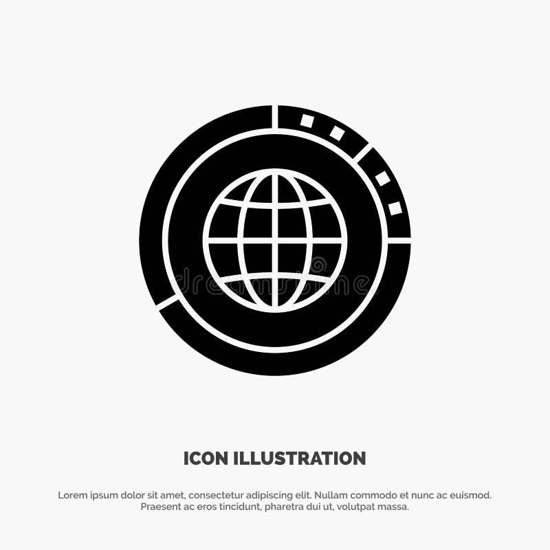 Управление, данные, глобальные, глобус, ресурсы, статистика, вектор значка глифа мира твердый иллюстрация штока