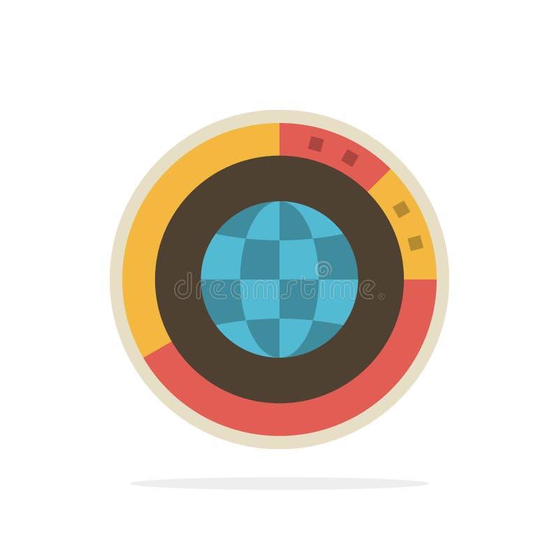 Управление, данные, глобальные, глобус, ресурсы, статистика, значок цвета предпосылки круга конспекта мира плоский иллюстрация вектора
