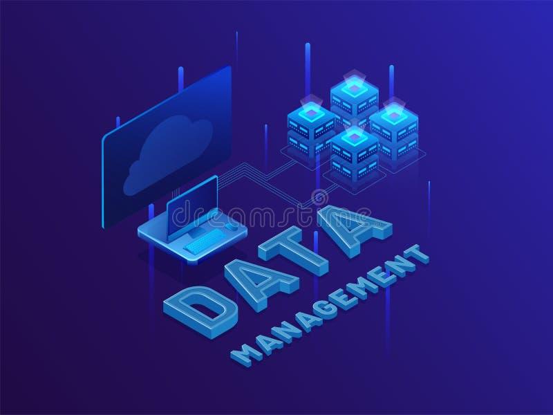 управление данными текста 3D с интернет-серверами и рабочим столом на сияющем bl иллюстрация вектора