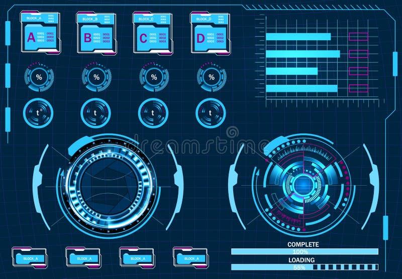 Управление компьютера, виртуальный графический интерфейс пользователя, элементы HUD иллюстрация иллюстрация штока