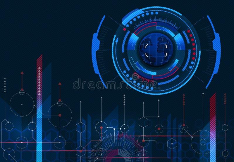 Управление компьютера Изображение земли Виртуальный графический интерфейс, электронная линза, элемент HUD Конспект, наука иллюстрация вектора