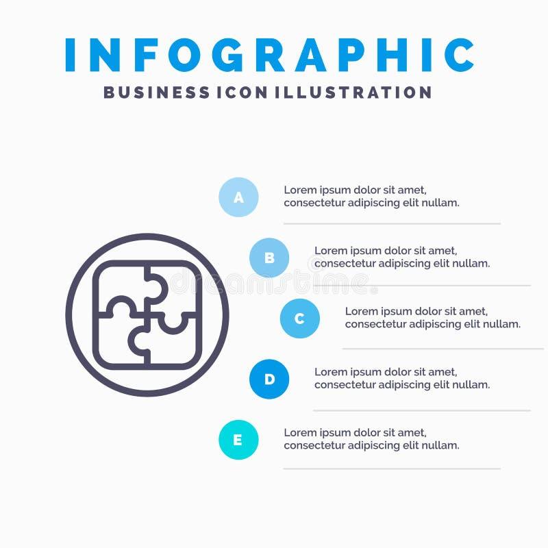 Управление, план, планирование, линия значок решения с предпосылкой infographics представления 5 шагов иллюстрация вектора