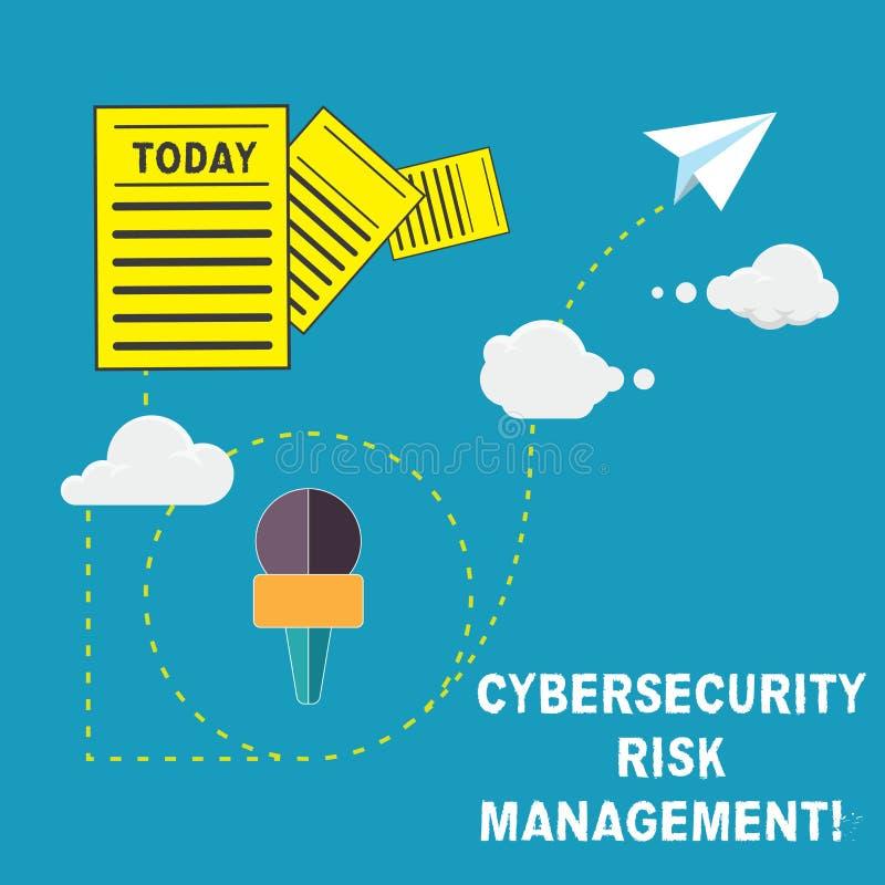 Управление при допущениеи риска Cybersecurity текста почерка Смысл концепции определяя угрозы и прикладывая данные по действий и иллюстрация вектора