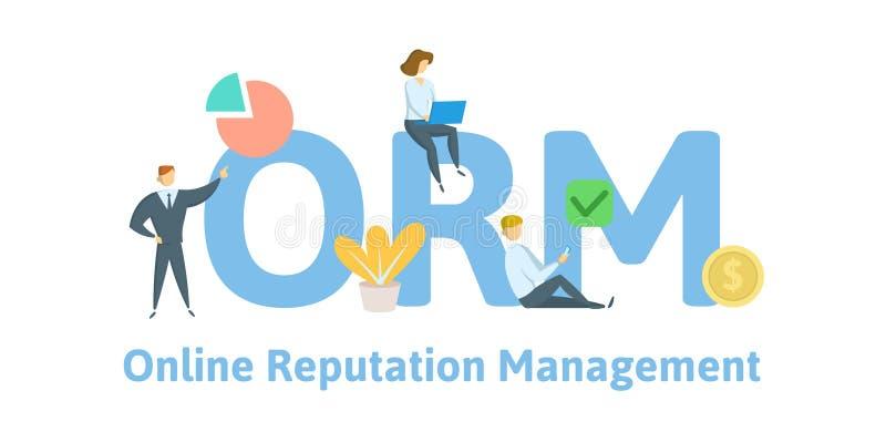 Управление репутации ORM онлайн Концепция с ключевыми словами, письмами, и значками Плоская иллюстрация вектора Изолировано на бе иллюстрация штока