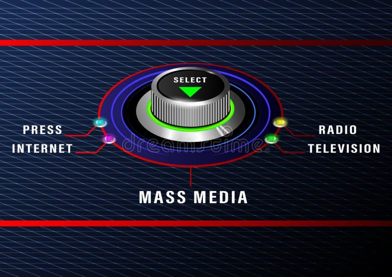 Управление средств массовой информации selest круглое иллюстрация штока