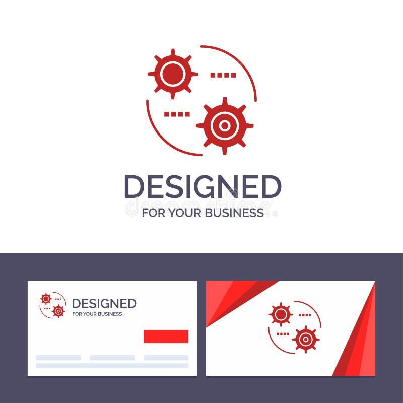 Управление творческого шаблона визитной карточки и логотипа, установка, шестерня, устанавливая иллюстрацию вектора бесплатная иллюстрация