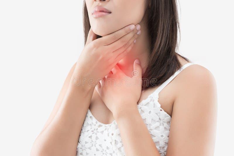 Управление тироидной железы женщин Боль в горле людей изолированных дальше стоковые фото
