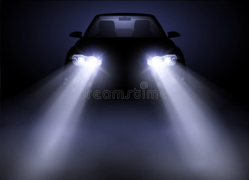 Управление фары яркого современного автомобиля автоматическое иллюстрация вектора