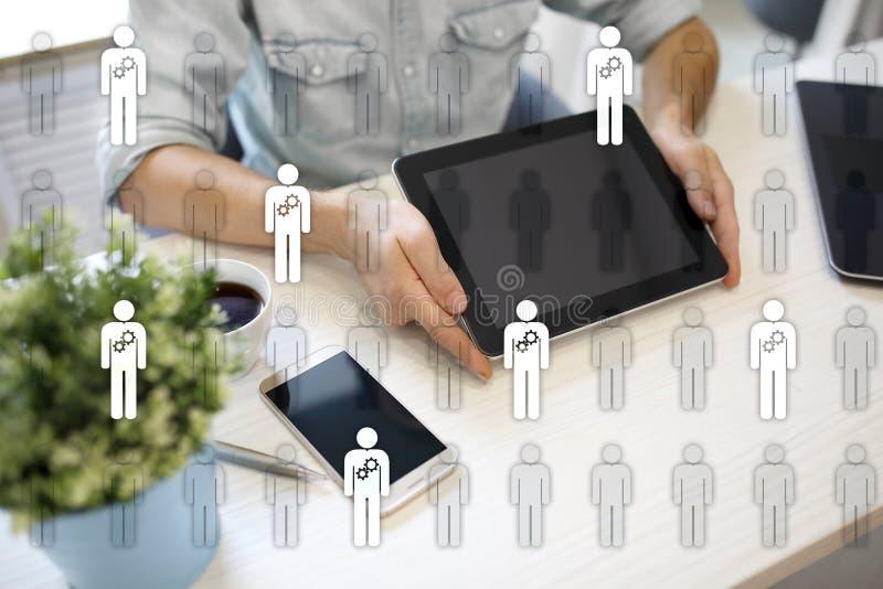 Управление человеческих ресурсов, HR, рекрутство, руководство и teambuilding Концепция дела и технологии иллюстрация вектора