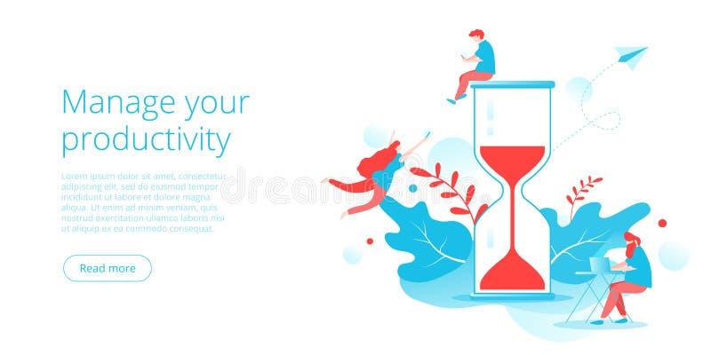 Управление эффективного времени в плоской иллюстрации вектора Организация деятельности людей и оказывать предпочтение задачи для  бесплатная иллюстрация