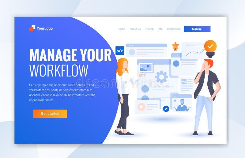 Управляйте вашими концепциями иллюстрации дизайна потока операций современными плоскими дизайна интернет-страницы для вебсайта иллюстрация вектора