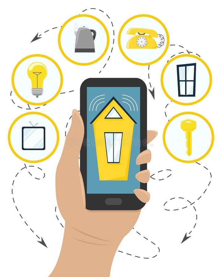 Управляйте умными домашними системами с вашим смартфоном Плоский стиль иллюстрация вектора
