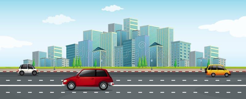 Управлять автомобилем в большом городе иллюстрация вектора