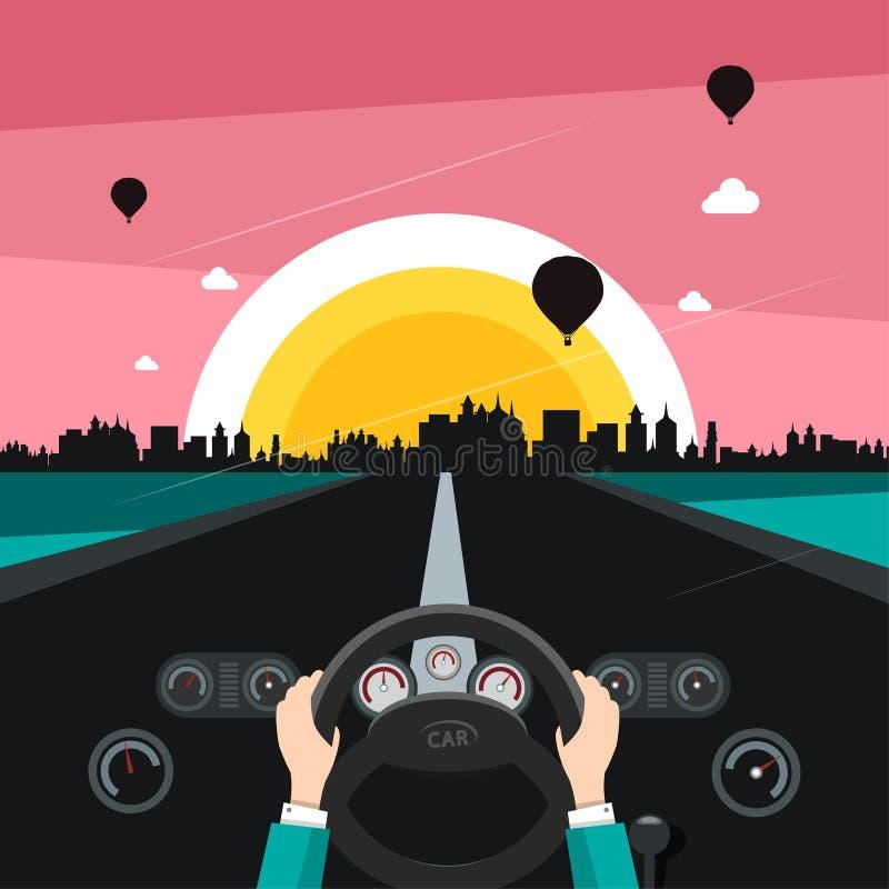 Управлять автомобилем на улице с городом захода солнца иллюстрация штока