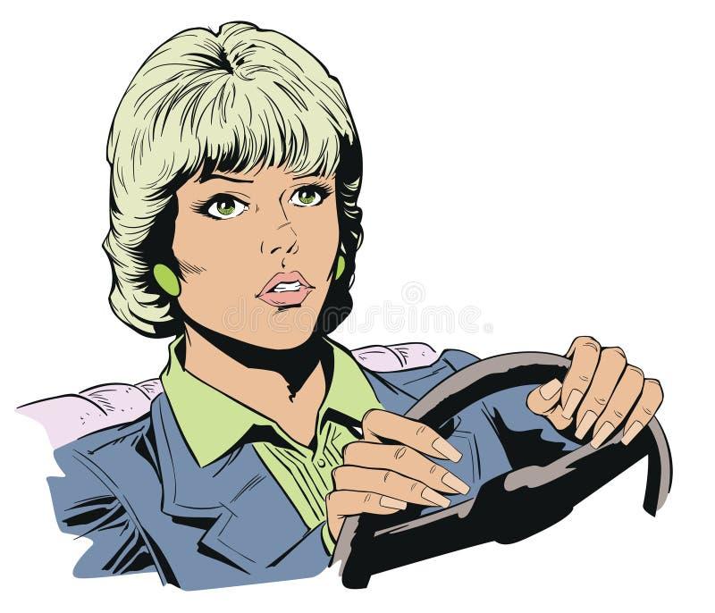 управлять автомобиля ее женщина шток померанца иллюстрации предпосылки яркий иллюстрация вектора