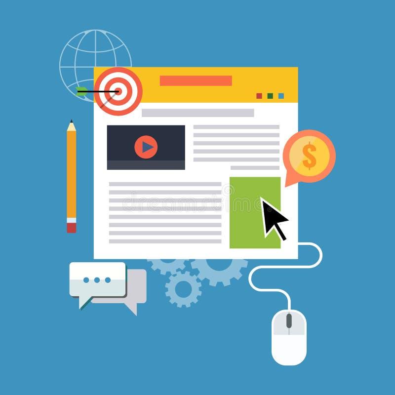 Управление блога, blogging концепция Плоский дизайн иллюстрация вектора