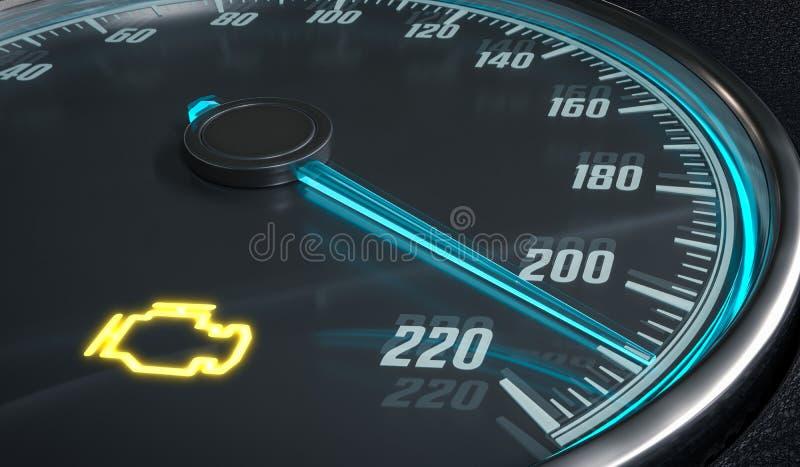 Управление предупредительного светового сигнала неисправности двигателя в приборной панели автомобиля представленная иллюстрация  иллюстрация вектора