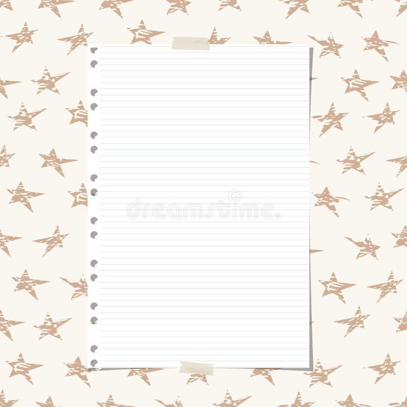 Управляемая белизна, striped тетрадь, лист копировальной бумаги на коричневой картине звезд бесплатная иллюстрация