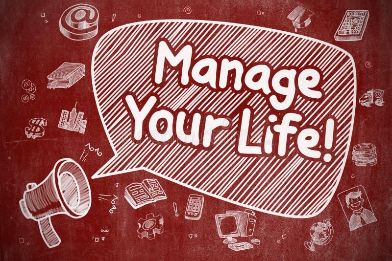 Управляйте вашей жизнью - иллюстрацией Doodle на красной доске иллюстрация вектора