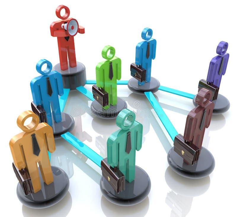 Управляйте командой - иерархия дела или сеть людей иллюстрация вектора