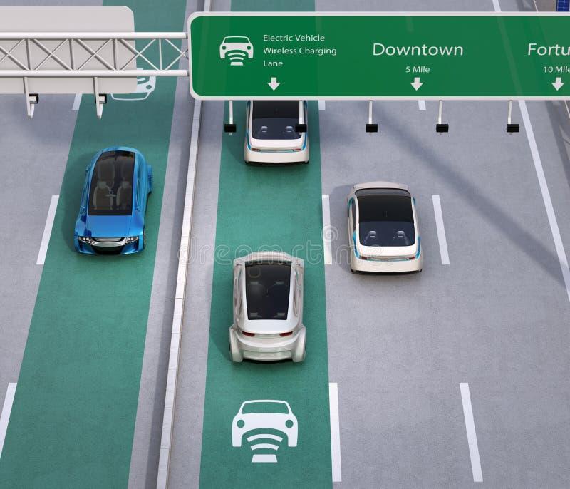 Управлять электрических автомобилей на беспроволочной поручая майне шоссе иллюстрация вектора