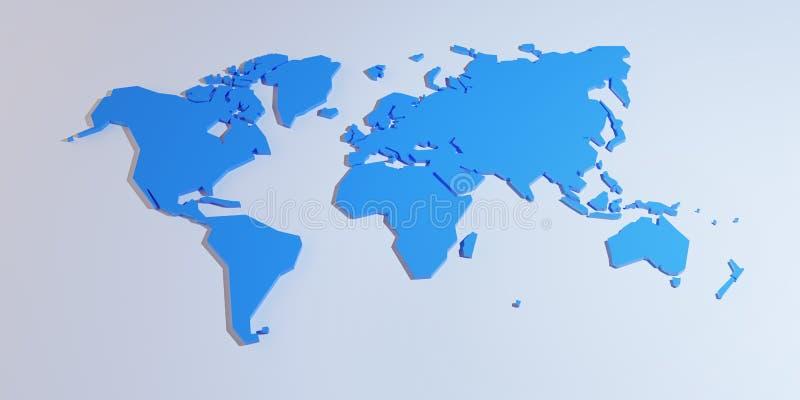 Упрощенная карта мира, 3d представить иллюстрация штока