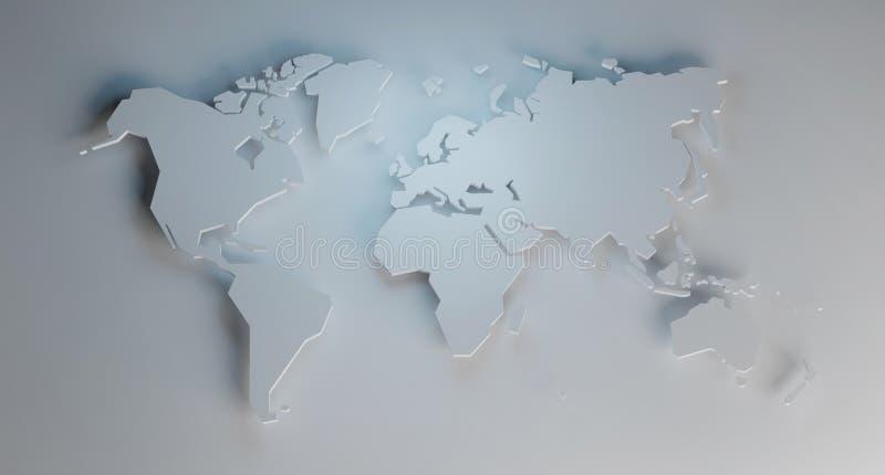 Упрощенная карта мира, 3d представить бесплатная иллюстрация