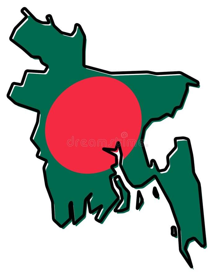 Упрощенная карта плана Бангладеша, с немножко изогнутой ООН флага иллюстрация вектора
