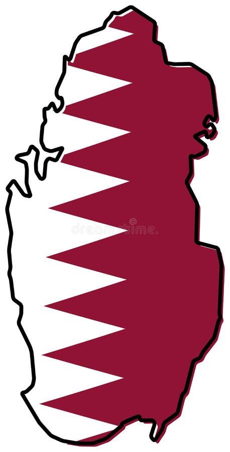 Упрощенная карта плана Катара, с немножко изогнутым флагом под I иллюстрация вектора
