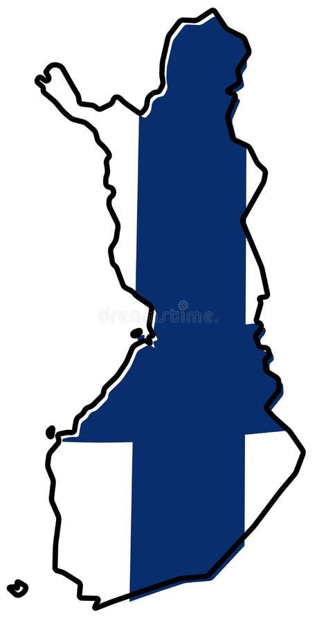 Упрощенная карта плана Финляндии, с немножко изогнутым флагом вниз иллюстрация штока