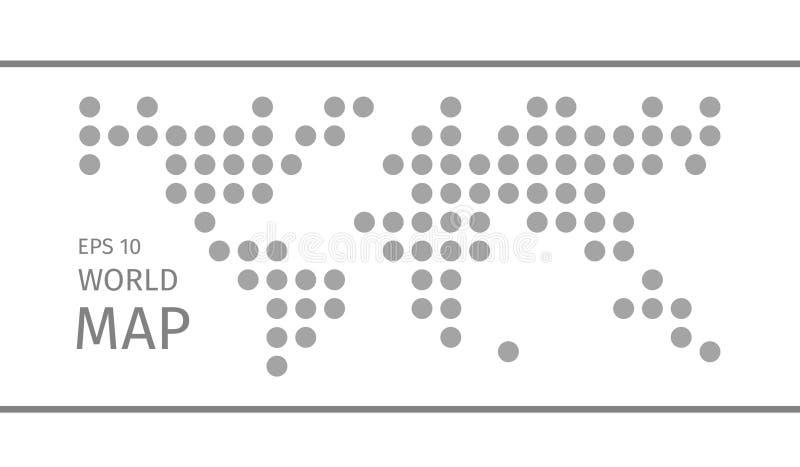 Упрощенная символическая поставленная точки карта мира иллюстрация вектора
